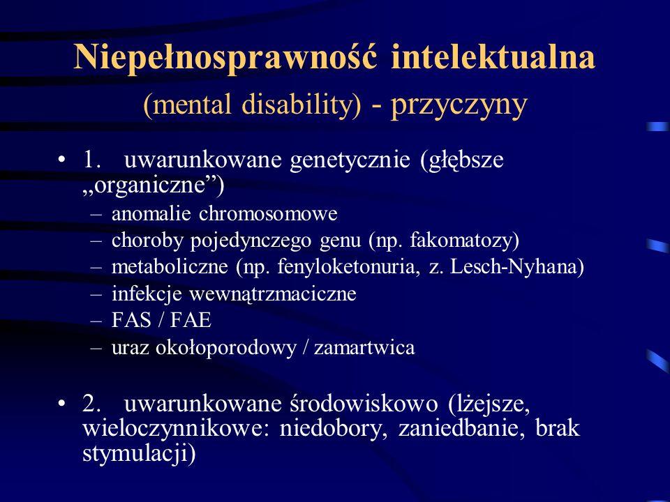 Niepełnosprawność intelektualna (mental disability) - przyczyny