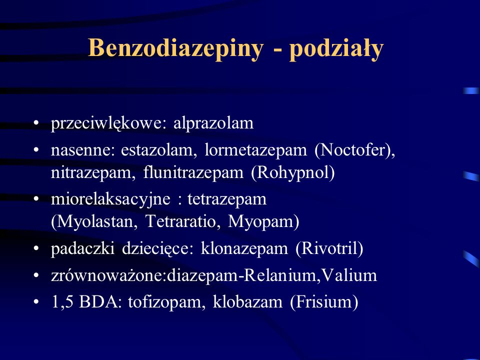 Benzodiazepiny - podziały