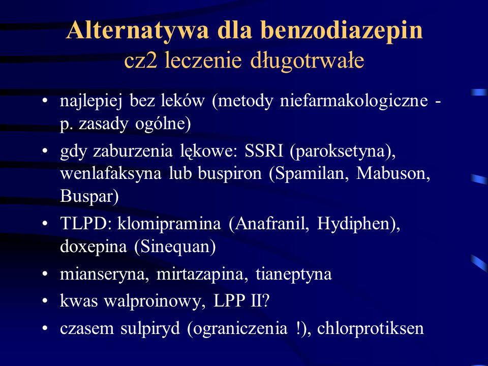 Alternatywa dla benzodiazepin cz2 leczenie długotrwałe
