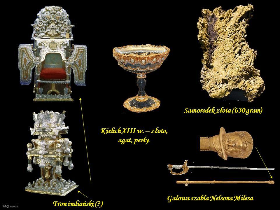 Kielich XIII w. – złoto, agat, perły.