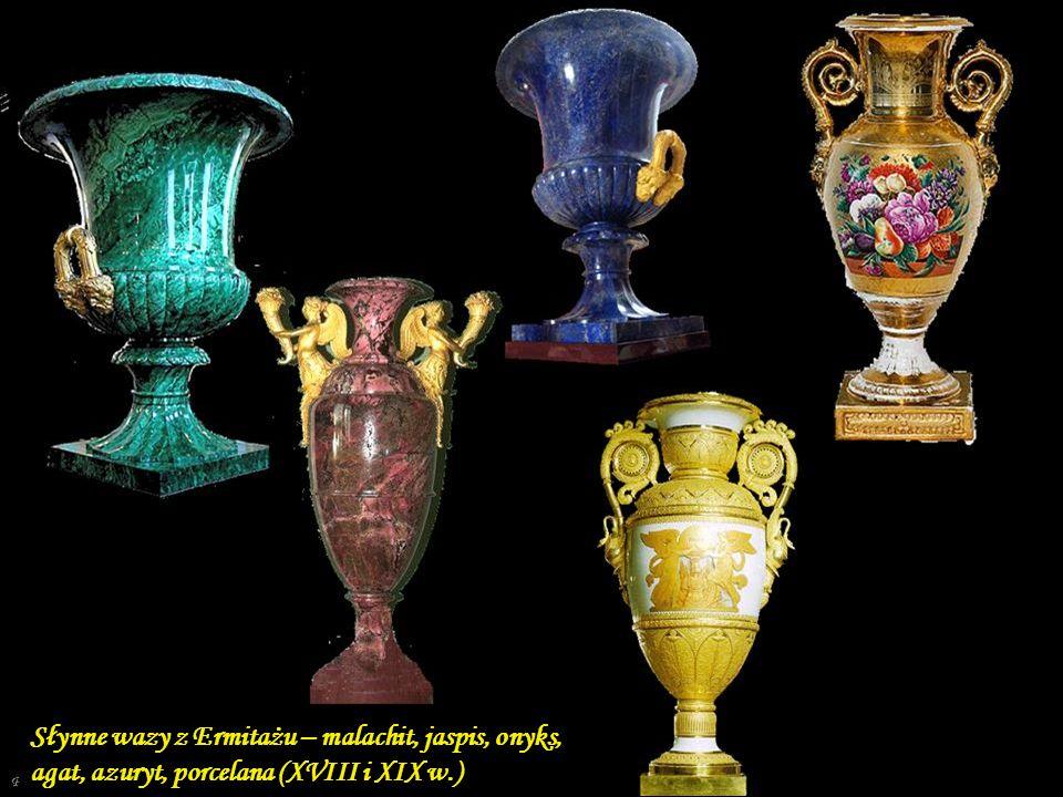 Słynne wazy z Ermitażu – malachit, jaspis, onyks, agat, azuryt, porcelana (XVIII i XIX w.)