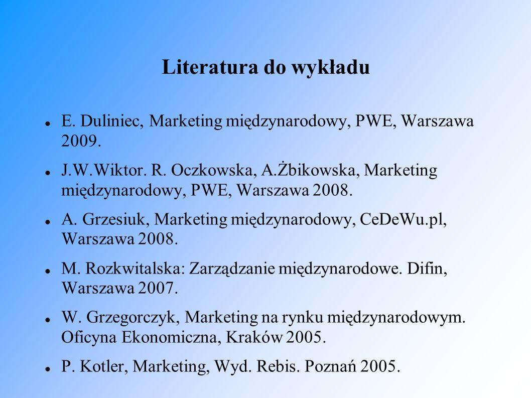 Literatura do wykładu E. Duliniec, Marketing międzynarodowy, PWE, Warszawa 2009.