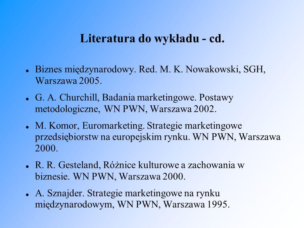 Literatura do wykładu - cd.