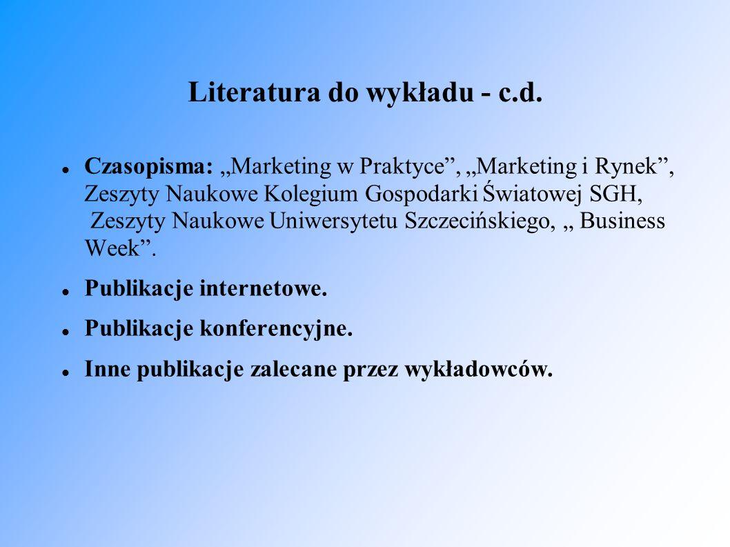 Literatura do wykładu - c.d.