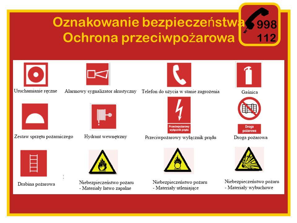 Oznakowanie bezpieczeństwa Ochrona przeciwpożarowa