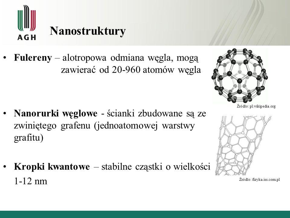 Nanostruktury Fulereny – alotropowa odmiana węgla, mogą zawierać od 20-960 atomów węgla.