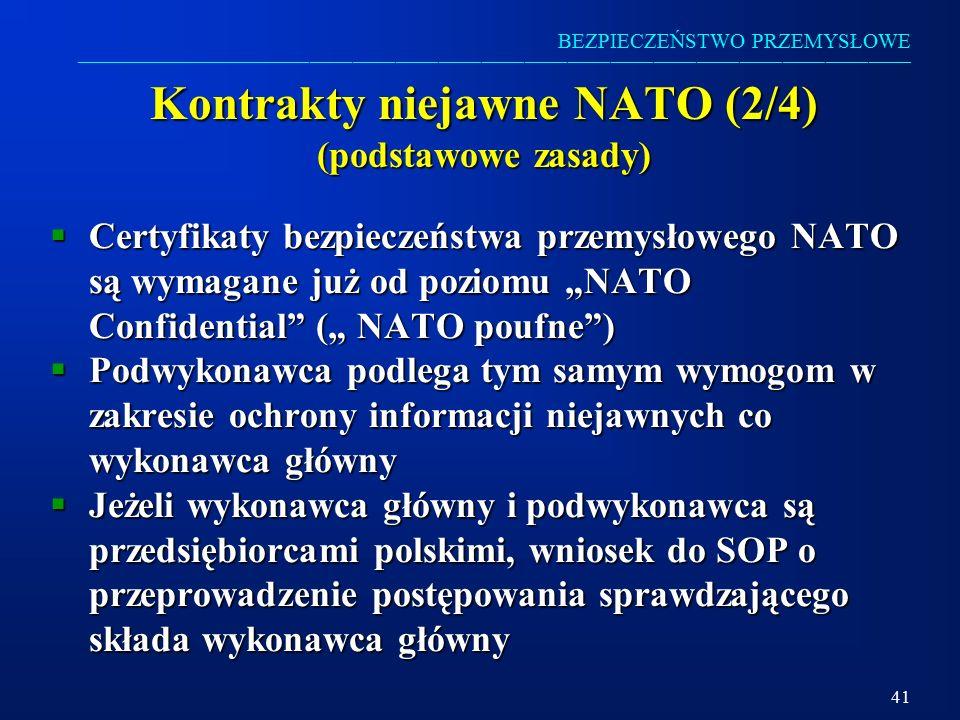 Kontrakty niejawne NATO (2/4) (podstawowe zasady)