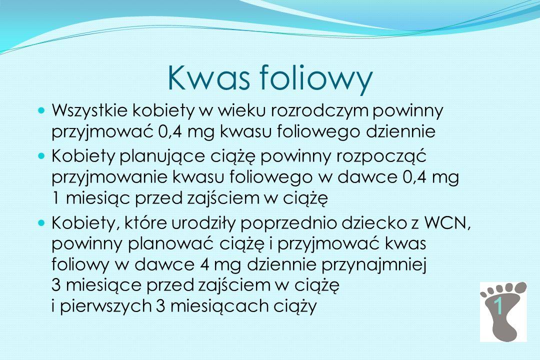 Kwas foliowy Wszystkie kobiety w wieku rozrodczym powinny przyjmować 0,4 mg kwasu foliowego dziennie.
