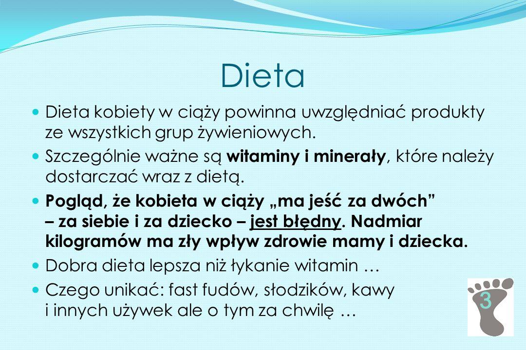 Dieta Dieta kobiety w ciąży powinna uwzględniać produkty ze wszystkich grup żywieniowych.