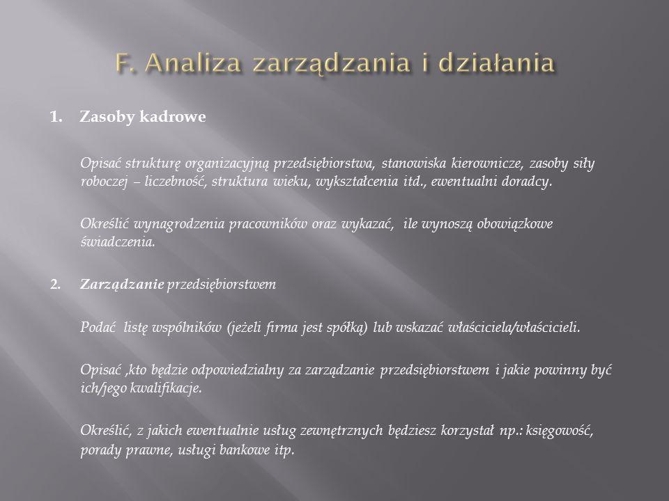 F. Analiza zarządzania i działania