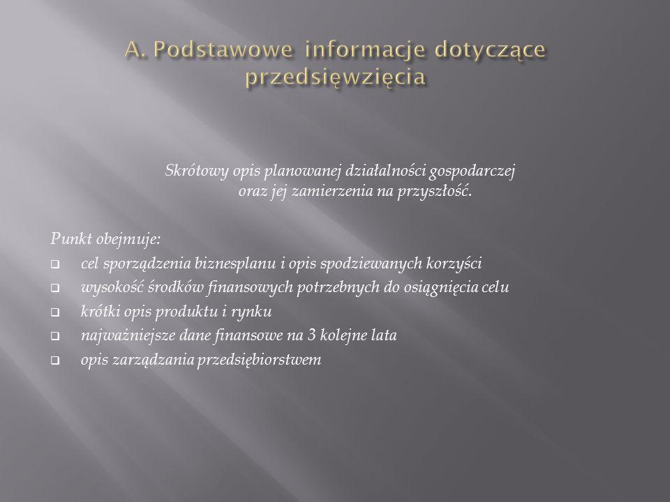 A. Podstawowe informacje dotyczące przedsięwzięcia