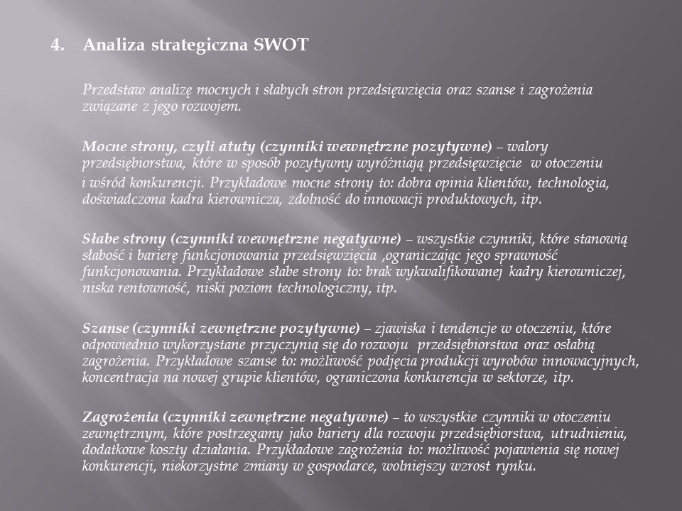 4. Analiza strategiczna SWOT
