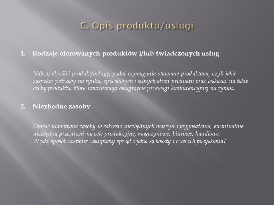 C. Opis produktu/usługi