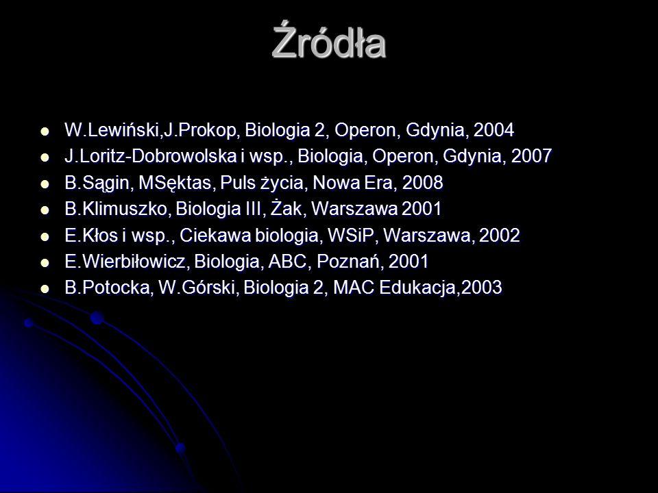 Źródła W.Lewiński,J.Prokop, Biologia 2, Operon, Gdynia, 2004