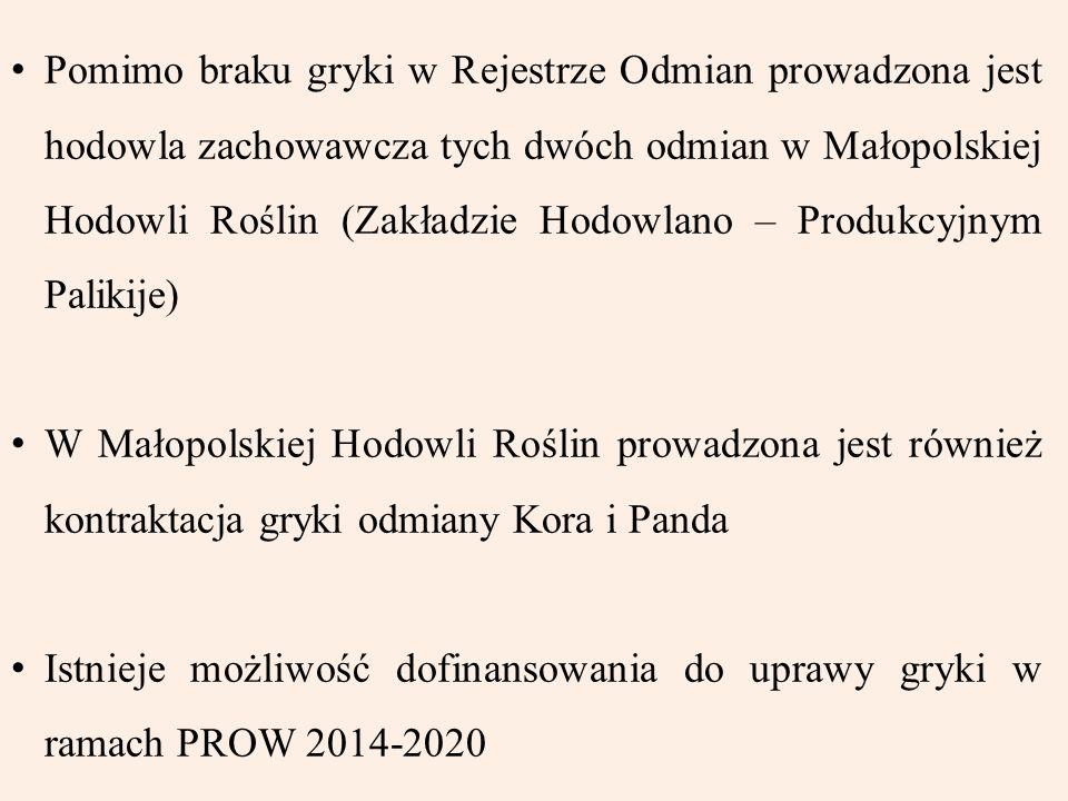Pomimo braku gryki w Rejestrze Odmian prowadzona jest hodowla zachowawcza tych dwóch odmian w Małopolskiej Hodowli Roślin (Zakładzie Hodowlano – Produkcyjnym Palikije)