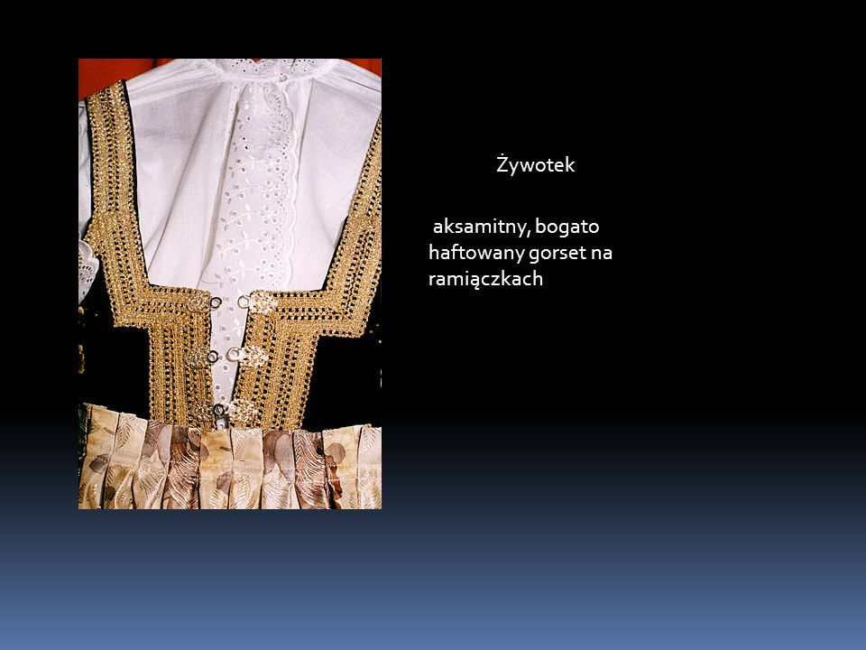 Żywotek aksamitny, bogato haftowany gorset na ramiączkach