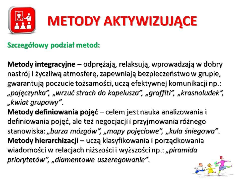 METODY AKTYWIZUJĄCE Szczegółowy podział metod: