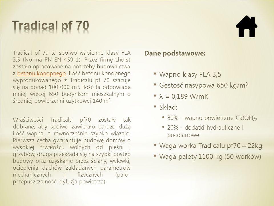 Tradical pf 70 Dane podstawowe: Wapno klasy FLA 3,5
