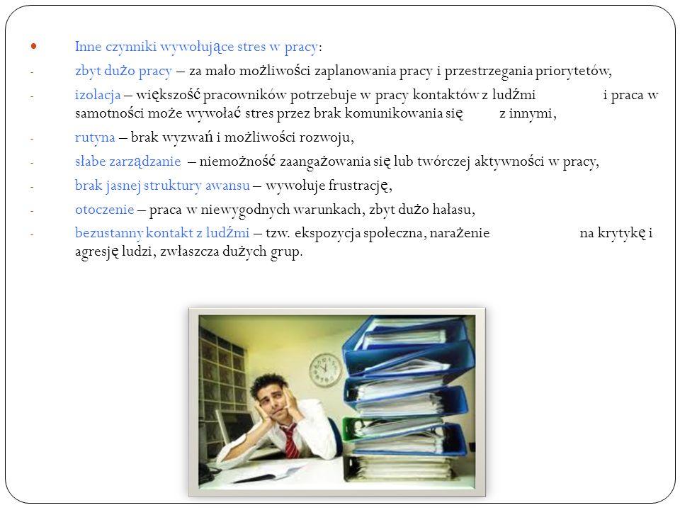 Inne czynniki wywołujące stres w pracy: