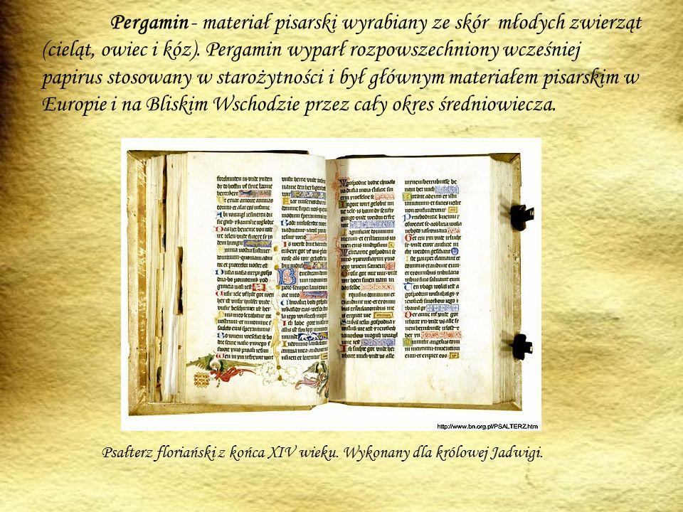 Pergamin - materiał pisarski wyrabiany ze skór młodych zwierząt (cieląt, owiec i kóz). Pergamin wyparł rozpowszechniony wcześniej papirus stosowany w starożytności i był głównym materiałem pisarskim w Europie i na Bliskim Wschodzie przez cały okres średniowiecza.