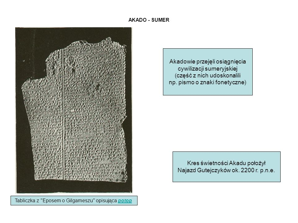 Akadowie przejęli osiągnięcia cywilizacji sumeryjskiej