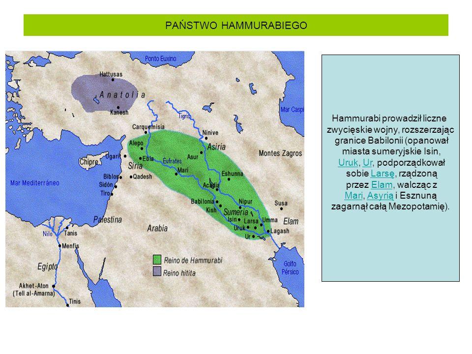 PAŃSTWO HAMMURABIEGO Hammurabi prowadził liczne