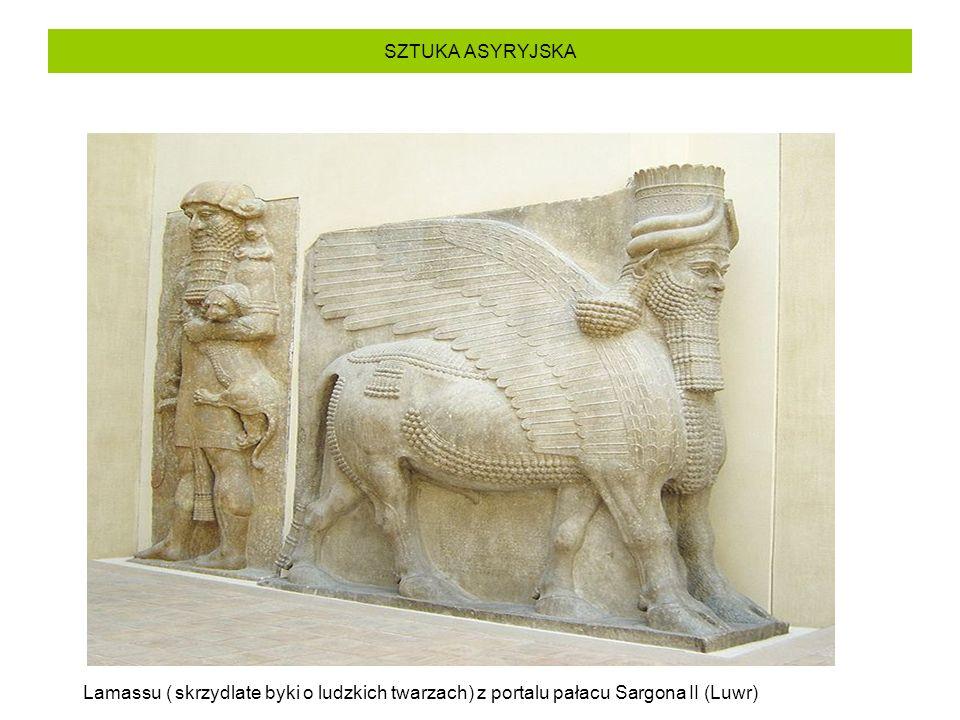 SZTUKA ASYRYJSKA Lamassu ( skrzydlate byki o ludzkich twarzach) z portalu pałacu Sargona II (Luwr)