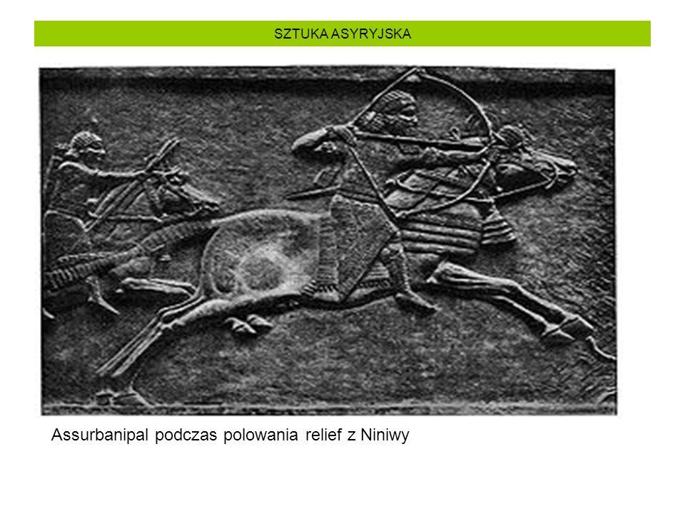 Assurbanipal podczas polowania relief z Niniwy