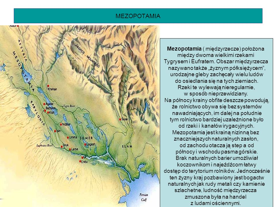 MEZOPOTAMIA Mezopotamia ( międzyrzecze) położona