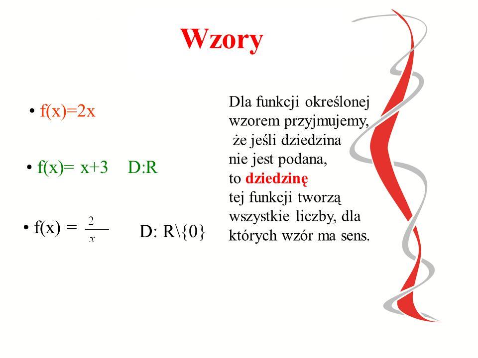 Wzory f(x)=2x f(x)= x+3 D:R f(x) = D: R\{0}