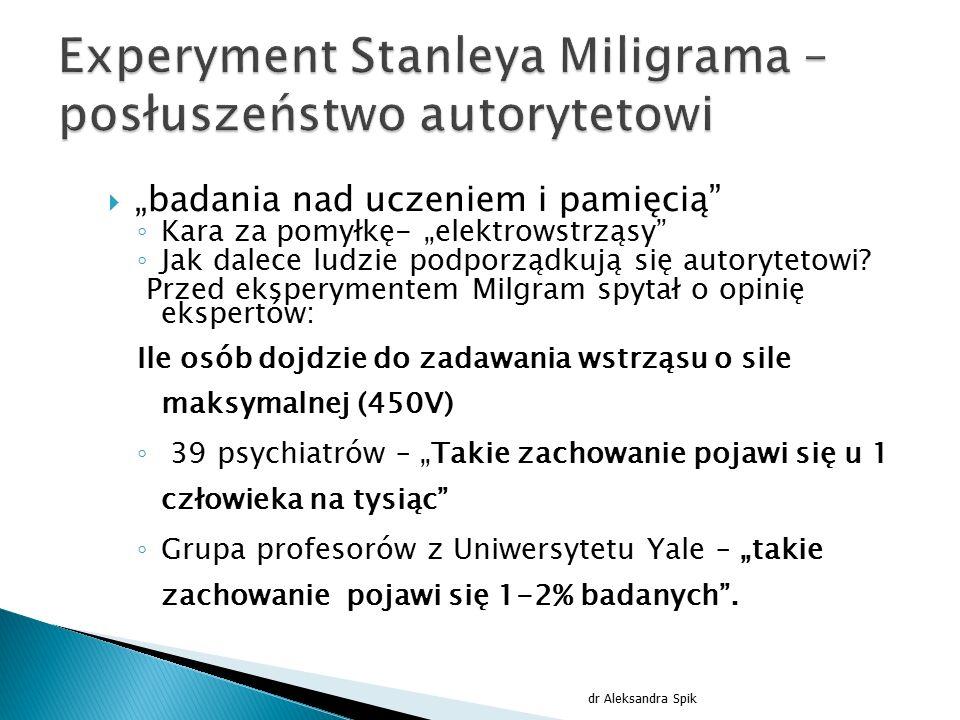 Experyment Stanleya Miligrama – posłuszeństwo autorytetowi