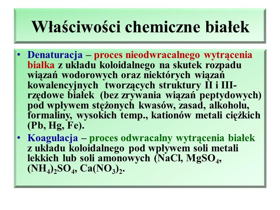 Właściwości chemiczne białek