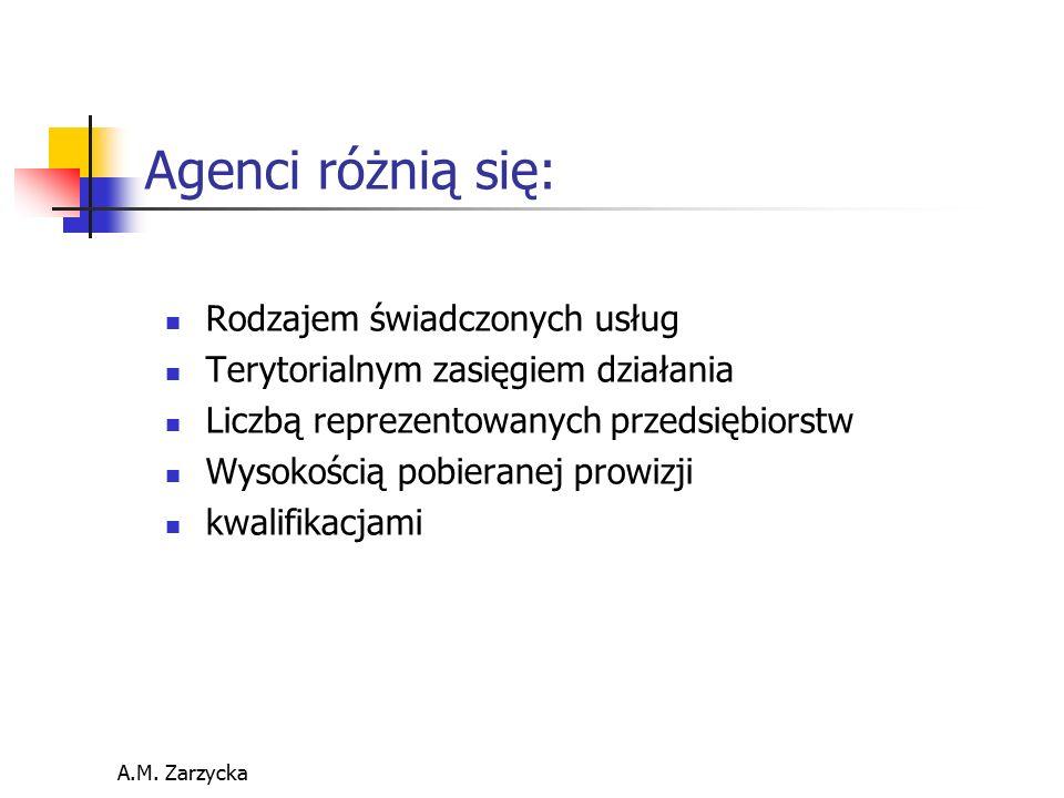 Agenci różnią się: Rodzajem świadczonych usług