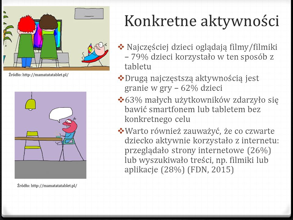 Konkretne aktywności Najczęściej dzieci oglądają filmy/filmiki – 79% dzieci korzystało w ten sposób z tabletu.