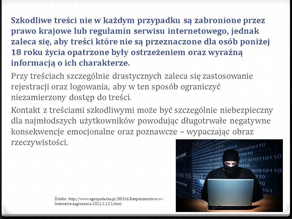 Szkodliwe treści nie w każdym przypadku są zabronione przez prawo krajowe lub regulamin serwisu internetowego, jednak zaleca się, aby treści które nie są przeznaczone dla osób poniżej 18 roku życia opatrzone były ostrzeżeniem oraz wyraźną informacją o ich charakterze.
