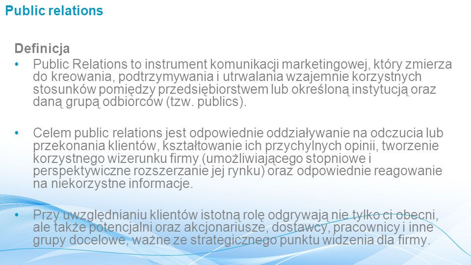 Public relations Definicja.