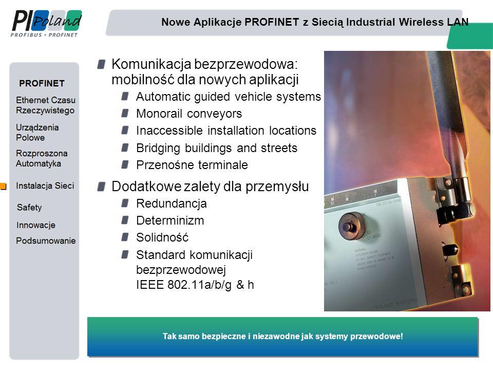 Nowe Aplikacje PROFINET z Siecią Industrial Wireless LAN