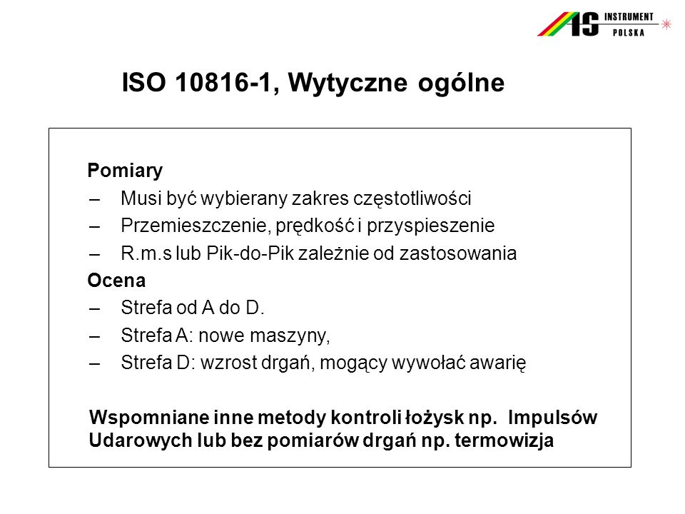 ISO 10816-1, Wytyczne ogólne Pomiary