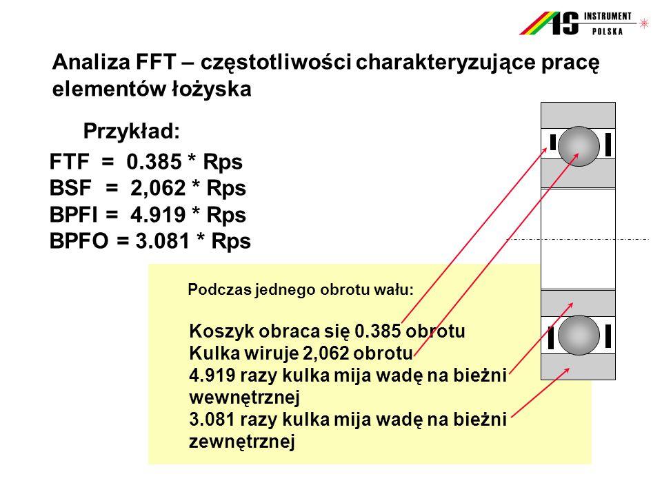 Analiza FFT – częstotliwości charakteryzujące pracę elementów łożyska