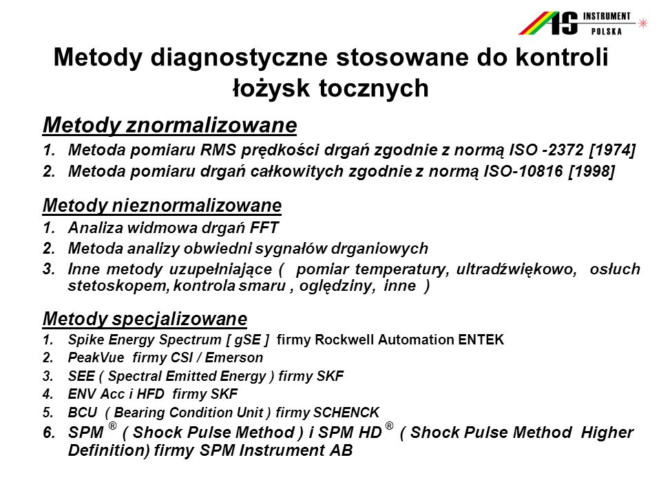 Metody diagnostyczne stosowane do kontroli łożysk tocznych