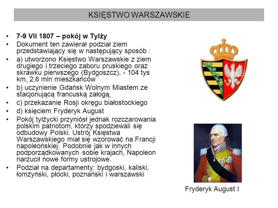 KSIĘSTWO WARSZAWSKIE 7-9 VII 1807 – pokój w Tylży