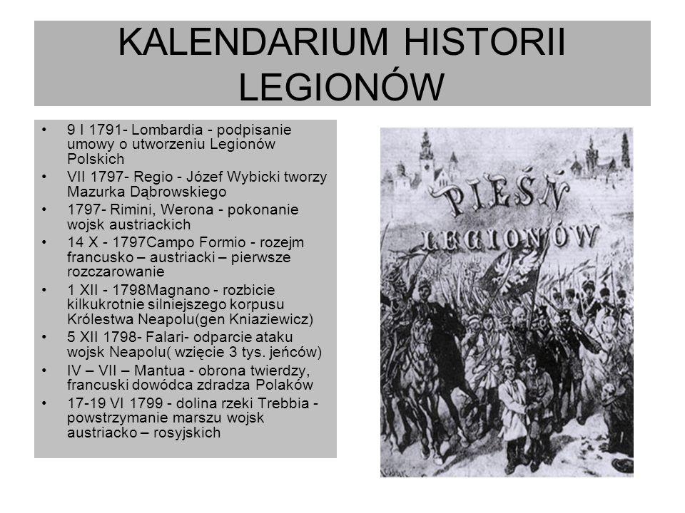 KALENDARIUM HISTORII LEGIONÓW