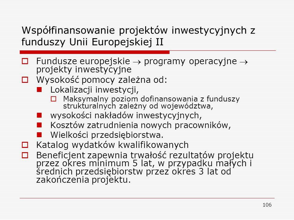 Współfinansowanie projektów inwestycyjnych z funduszy Unii Europejskiej II