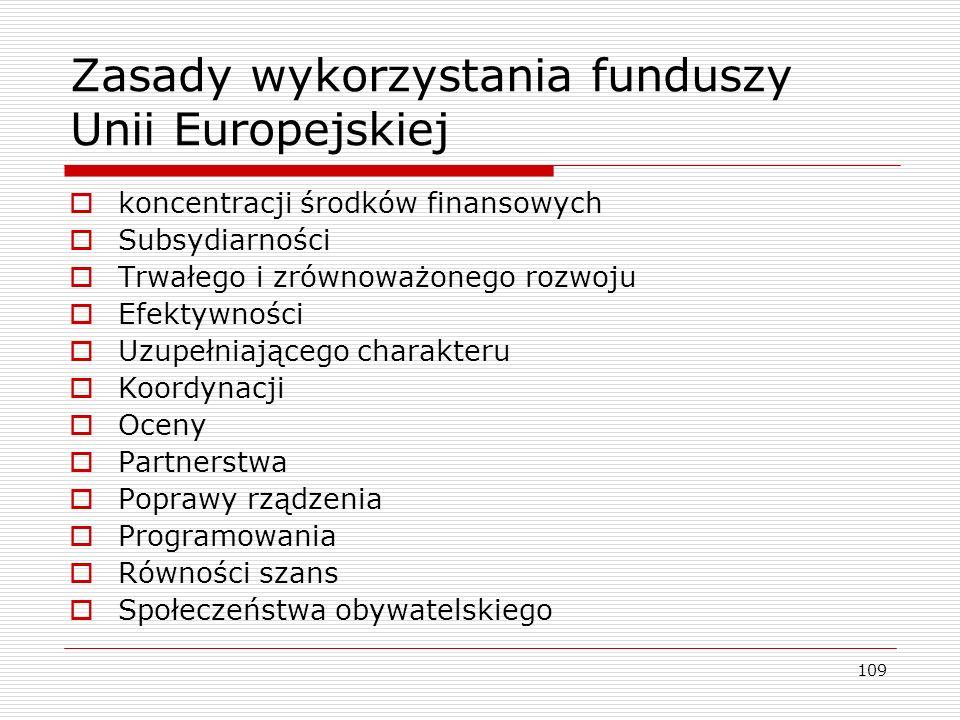 Zasady wykorzystania funduszy Unii Europejskiej