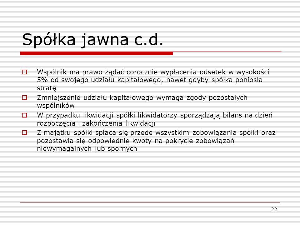 Spółka jawna c.d.