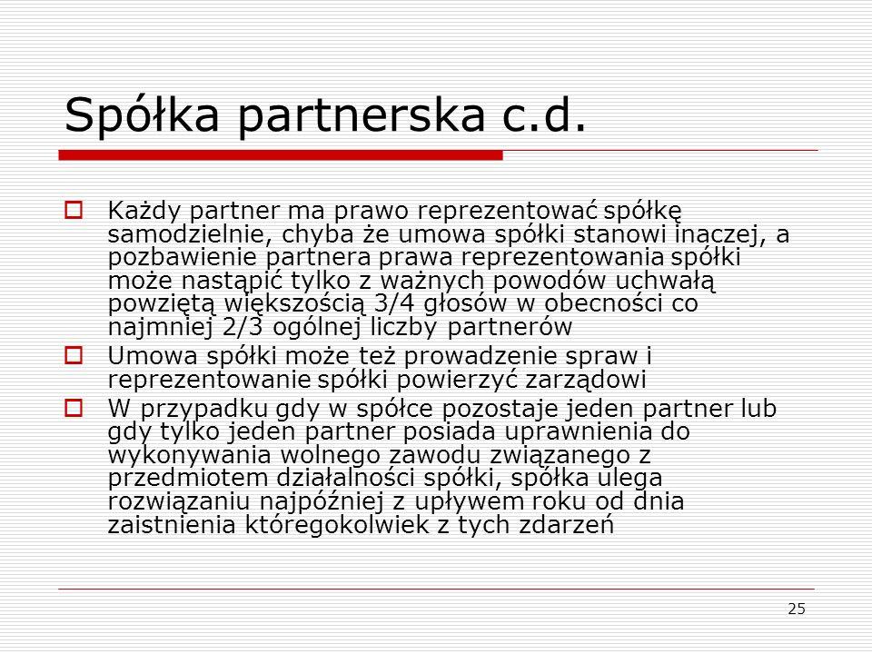 Spółka partnerska c.d.