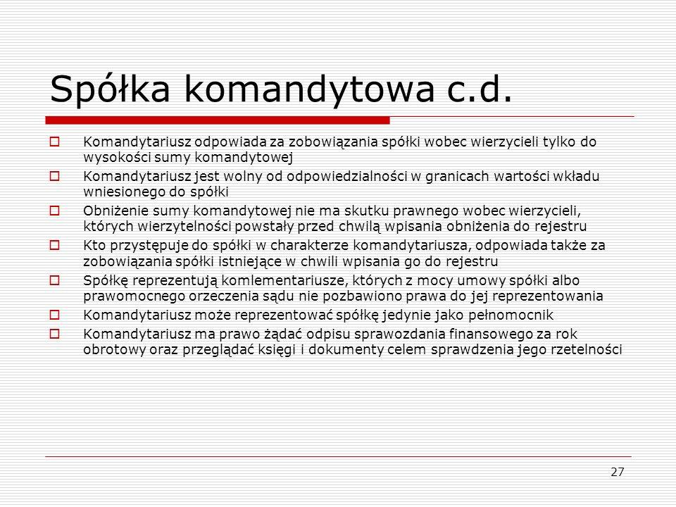 Spółka komandytowa c.d. Komandytariusz odpowiada za zobowiązania spółki wobec wierzycieli tylko do wysokości sumy komandytowej.