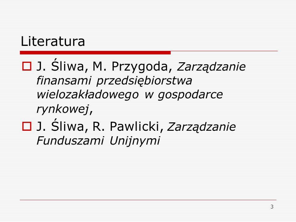 Literatura J. Śliwa, M. Przygoda, Zarządzanie finansami przedsiębiorstwa wielozakładowego w gospodarce rynkowej,