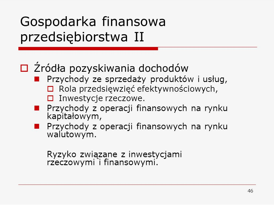 Gospodarka finansowa przedsiębiorstwa II