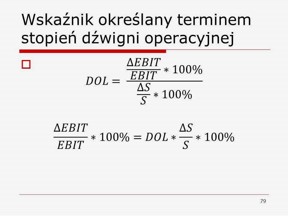 Wskaźnik określany terminem stopień dźwigni operacyjnej